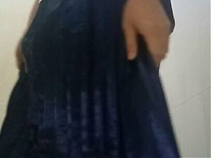 Autocum in blue long satin pleated skirt
