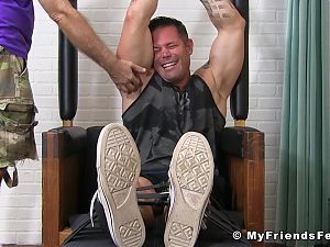 Bound muscle stud Joey tickle tormented on feet and body