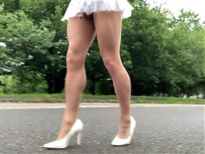 Public road walk in sissy skirt.