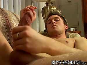 Hot twink London Lane jacks off and smokes a cigar