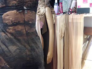 Glossy preowned 20 den pantyhose in Mannequin, Lou negligee